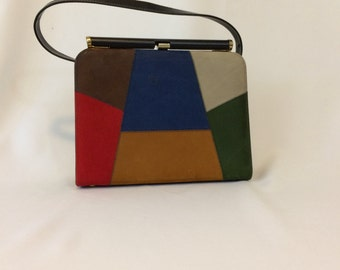 Vintage 1960's Vinyl Color Block Purse // Blue Red Green Brown Top Handle Purse // Vegan Friendly