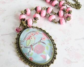 Pink bird necklace, romantic jewelry, large pendant necklace, gift for her, pink jewelry, beaded necklace