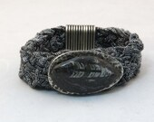 Metallic Braided Bracelet with Orthoceras Fossil