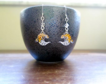 Leopard Gecko Earrings - Hand Drawn Shrink Plastic and Sterling Silver