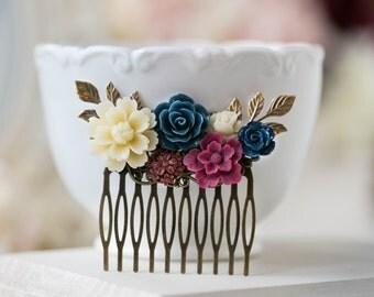 Maroon Navy Blue Wedding Hair Comb, Marsala Burgundy Dark Blue Ivory Floral Bridal Hair Comb, Rustic Vintage Hair Piece, Bridesmaid Gift