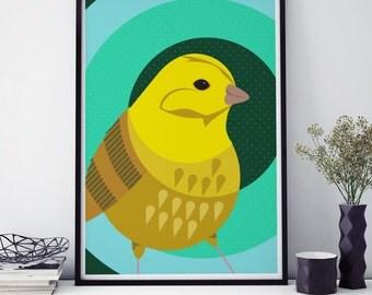 Yellowhammer Bird Print Giclée Wall Art Illustration