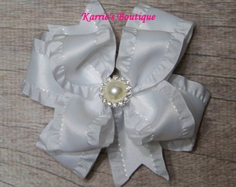 White Double Ruffle Ribbon Bow / Over the Top Hair Bow / Flower Girl / Pageant /  Photo Prop / Infant / Baby / Girl / Toddler / Boutique