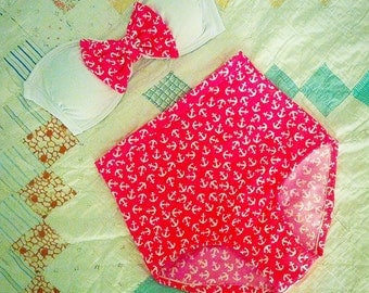 SALE Vintage Bow High Waist Swimsuit - Pink Polka Dot, Size Small