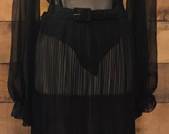 Sheer Black Chiffon Dress