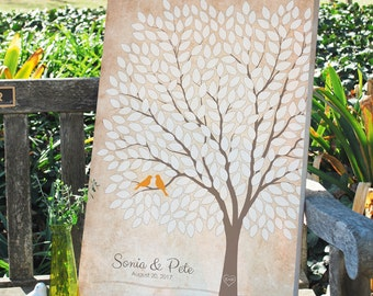 Rustic Wedding Tree Signature Guest Book, Unique Anniversary Tree Guest Book, Personalized Love Birds Poster, 50-300 Guests, Canvas or Print