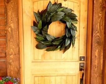 Large Magnolia Wreath-Summer Door Wreath-Fall Wreath-Outdoor Wreath-Rustic Wreath-Housewarming-Wedding Gift-Farmhouse Decor-Gift for Mom
