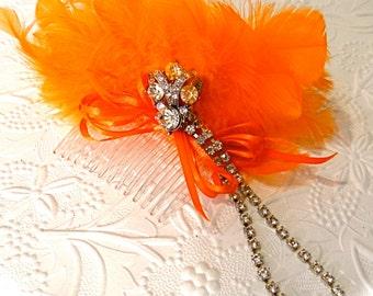 Orange Feather Hairpiece Rhinestone Hair Comb F-113
