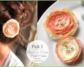 PICK 1 Peach Bridesmaid Wedding Hair Flower, Silk Peach Floral Hair Accessory, Gold Ivory Peach Flower Girl Hair Clip with Pearls Cream lace