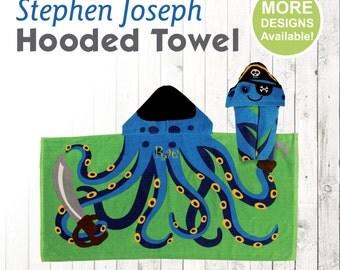 Pirate Octopus Hooded Towel, Stephen Joseph Hooded Towel, Kids Beach Towel, Hooded Bath Towel, Sea Creature Towel, Hooded Towel for Kids