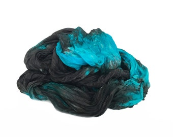 black silk scarf - Abigail  - blue, turquoise, black silk ruffled scarf.