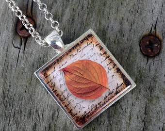 Fall jewelry, Fall leaves, Fall leaf necklace, Orange leaf necklace, Gifts for her, Autumn leaf pendant, Thanksgiving jewelry, Fun gifts