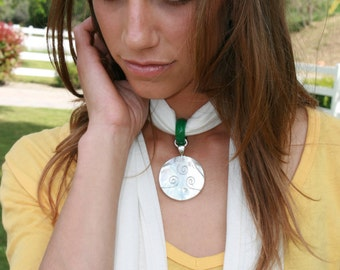 Hemp Scarf Necklace with Shell and Jade Pendant in a sterling silver setting - Reiki attuned and Blessed