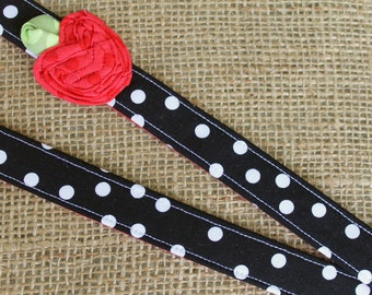 Teacher Apple Lanyard - Black and White Dot with Red Apple