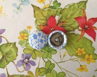 Fabric Covered Button Earrings / Wholesale Jewelry / Blue / Vintage Inspired / Bulk Lot / Studs for Sensitive Ears / Gifts for Her