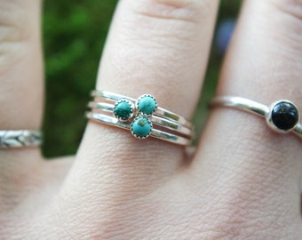 Dainty Genuine Turquoise ring |3mm  Stone stacking ring | Turquoise stacking ring | Silver Stacking ring | hammered stacking ring