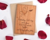 Anniversary Gift for Husband. 5th Year Anniversary Card for Him. Personalized Wood Card.