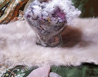 Sale/Pheromone Bath Salt with 2 Crystal Gemstones/Pagan Wiccan Ritual Salts/Herbal Bath Soak for tired bones.