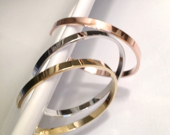 Simple Gold Bangle Bracelet, Rose Gold Bangle Bracelet, Silver Bangle Bracelet, Layering Bracelets