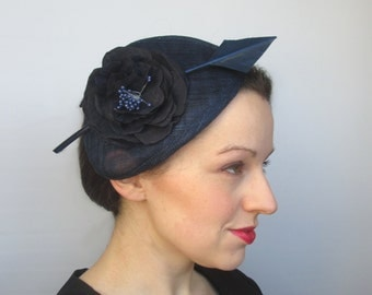 Navy Wedding Hat - Races Hat, Perch Hat, Navy Hat, Womens Hat, Derby Hat, Ascot Hat, Ladies Hat, Navy Fascinator, Party Hat