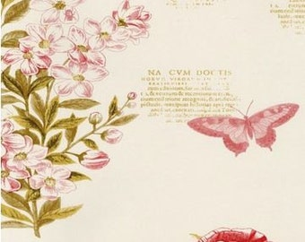 Pink and Beige Botanical Garden Floral Script - Botanist Paradise, Butterfly, Dragonfly, Bee, For Wall - Wallpaper By The Yard - PA34246so