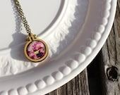 "Hand Stitched Mini 1"" Cross Stitch Necklace. Pink Floral Vintage Petit Point Embroidery Hoop Jewelry. Dandelyne Hoop Pendant. Ready to Ship."