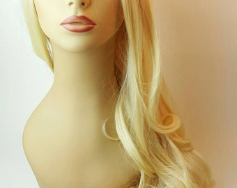 Wavy Blonde Wig, Long Blonde Wig with Waves, Long Pale Blonde Wig, Long Blonde Wig, Wig, Blonde