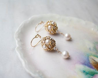 Freshwater Pearl Drop Earrings, Pearl and gold, Bridal Jewelry, Hand Beaded Artisan jewelry