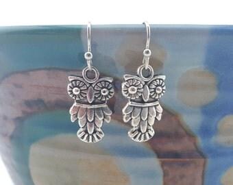 Owl Earrings - Owl Jewelry - Silver owl earrings - Mechanical owl earrings - cute little owl earrings - small owls - tiny owl earrings