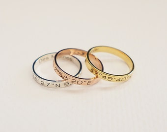 Skinny Coordinates Ring in Sterling Silver • Personalized Stackable ring • Custom Coordinates Ring • Bridesmaid Gift • Wedding Gift RM22F41