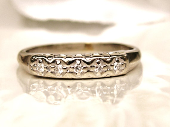 vintage keepsake wedding ring 14k white gold ladies wedding