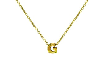 """Gold G Pendant Necklace, Vermeil Gold Initial """"G"""" Letter Charm Necklace, Personalized Gift Ideas"""