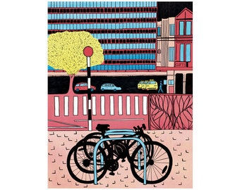 Colourful note card, greeting card, blank card, city art, bikes, art print of an original illustration, Christchurch NZ
