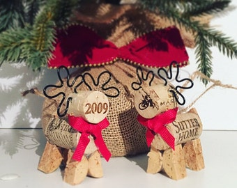 Reindeer Wine Cork Ornament