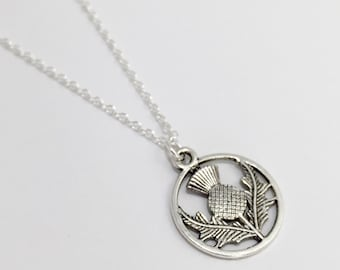 Silver Thistle Necklace/Outlander Thistle Necklace/Scottish Thistle Necklace/Antique Silver Thistle Necklace