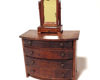 Exceptional Antique Bow Front Dresser U0026 Shaving Mirror, German Dollhouse Furniture,  Tynietoy Furniture, 4