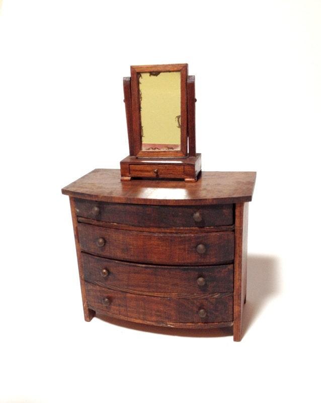 Antique Bow Front Dresser Amp Shaving Mirror German Dollhouse