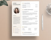 Resume Template - Cover Letter Template - Word Resume Template - CV Template - iWork Pages Resume Template - Resume Template With Photo