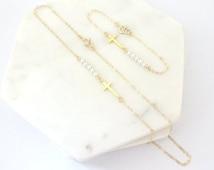 Chistening jewelry set,Baby girl pearl bracelet, Baptism necklace, Gold fill, Sterling silver, Rose Gold fill  custom Swarovski Pearl