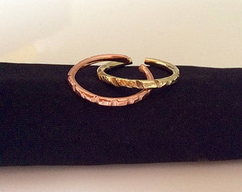 Stackable rings/ Ring set/ Brass and copper rings/ Handmade rings/ Adjustable size rings/ Gift idea/ Pair of rings