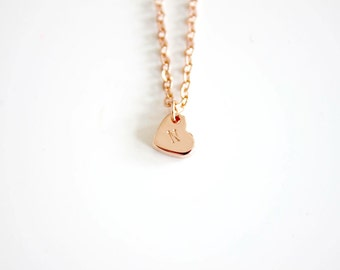 Rose gold heart initial necklace, letter necklace, monogram necklace, Dainty necklace, bridesmaids gift, Wedding favor, mothersday present