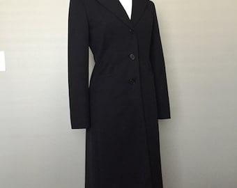 Beautiful 'I-N-C' Black Long Wool Coat (Small)-Lt Wt/Button Down