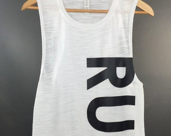 RUN Muscle Tank: Women's Flowy Tank Running Workout Tshirt- 3 Colors Available