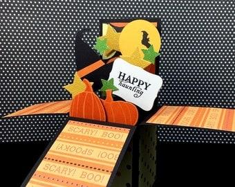 Halloween Pop Up Card - 3D Halloween Card - Card in a Box - Explosion Card, Witch, Bats and Pumpkins in Orange and Black - Halloween Display