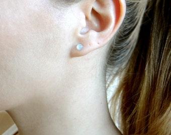 Opal Stud Earrings, Tiny Stud Earrings, Moonstone Studs