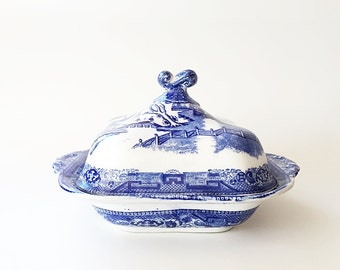 Blue & White English China Transferware Serving Bowl Covered Vegetable Bowl Antique Blue Willow by Ridgway
