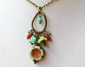 Teal Glass Flower & Teal and Red Dangly Cluster Bronze Necklace, Bohemian Chic