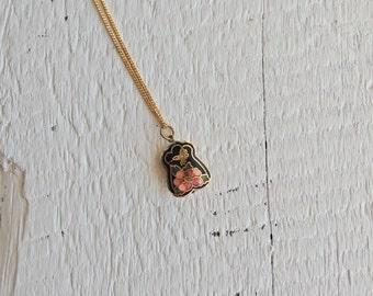 Doublesided Cloisonne Humming Bird Floral Pendant/Flower Enamel Necklace/Vintage Cloisonne/Cloisonne Puffy Pendant/Black/Brass/Bird/Mini