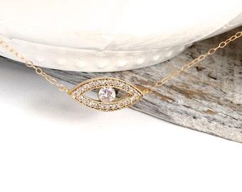 Gold Evil Eye Necklace, Celebrity Necklace, Evil Eye Charm Necklace, Silver Evil Eye CZ Necklace, Pave Evil Eye Necklace