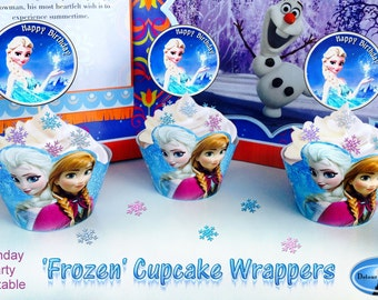 1/2 OFF COUPON  Frozen Birthday Party Printable Cupcake Wrappers Wraps Sleeves Holders FR-001